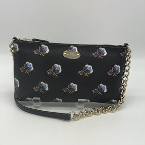 Coach Black And Blue Floral Crossbody